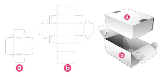 Flip packaging box with shield die cut template
