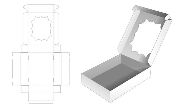 マルチポイントの星型ウィンドウダイカットテンプレートが付いたフリップ製品ボックス