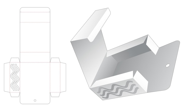 Flip rectangular packaging with hanging hole and stenciled wave die cut template