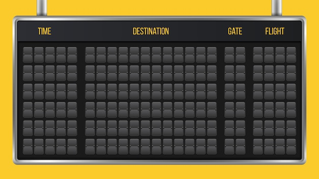 Flip scoreboard, arrival airport board alphabet.