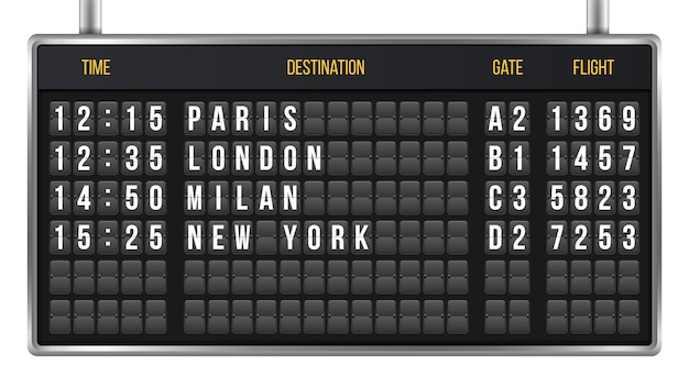 Flip scoreboard, arrival airport board alphabet