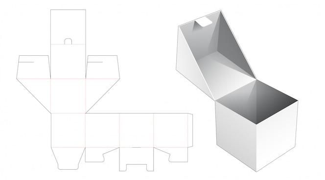 플립 사각형 포장 상자 다이 컷 템플릿