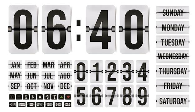 Переверните календарь счетчика времени с элементом числа, месяца, дня