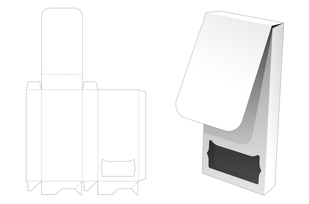 Flip tin box with window die cut template