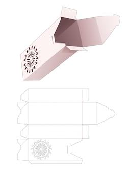 스텐실 만다라 다이 컷 템플릿이있는 플립 탑 화장품 상자