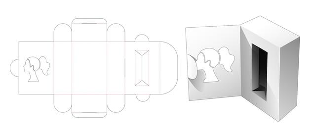 Flip top cosmetic box with woman portrait shaped window on flip die cut template