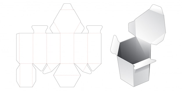 Flip top hexagonal packaging box die cut template