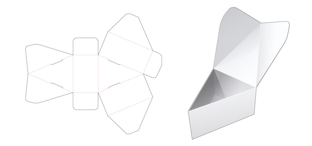 Flip top triangular box die cut template
