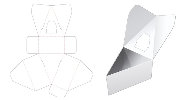 Flip top triangular box with window die cut template