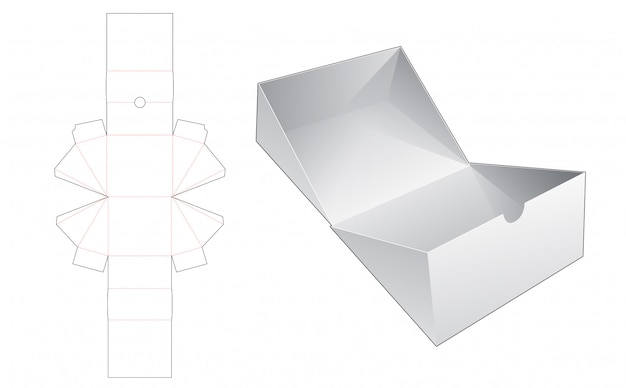 Flip triangular packaging box die cut template