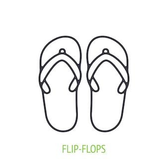 Flipflops outline icon vector illustration beach shoes for summer time vector illustration
