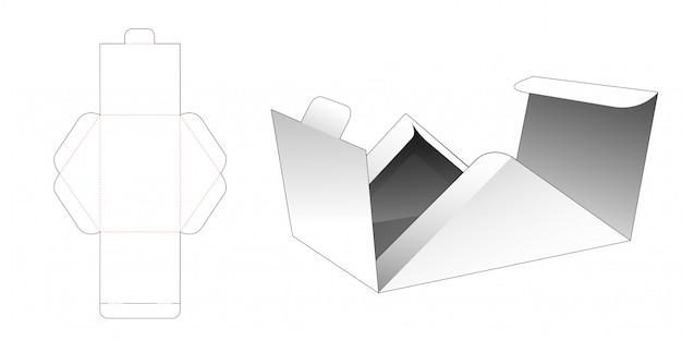 Flips triangular box die cut template