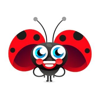 Flirtatious flying little ladybug on white background vector illustration