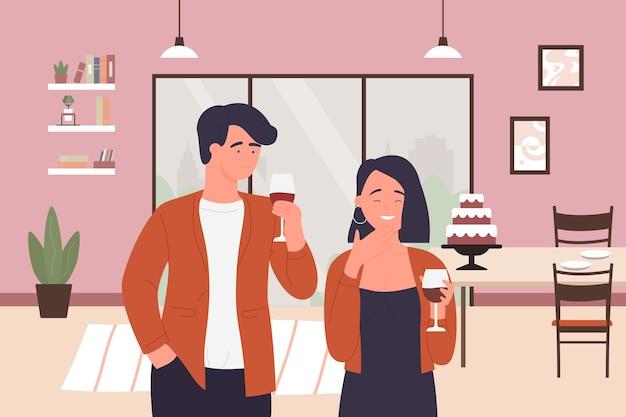 Флирт пара людей, молодой мужчина женщина романтическое свидание время дома