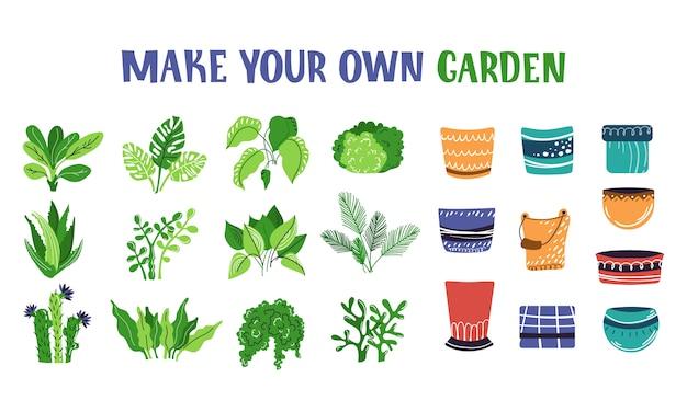 ホーム鉢植えfliwers、木、植物コンストラクターのセット