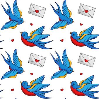 鳥とポストカードfliyingシームレスパターン