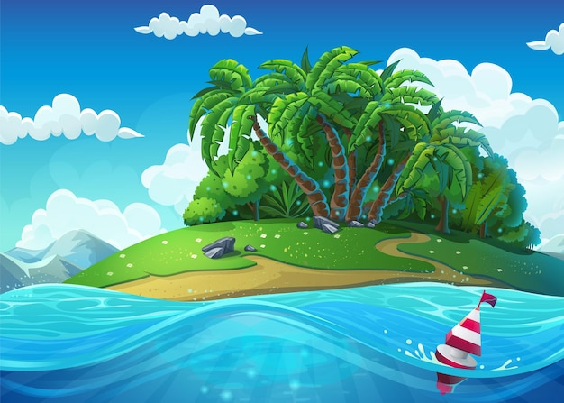 Float on the background of the island with palm trees in the sea under clouds. marine life landscape - the ocean and the underwater