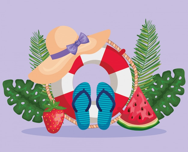 Float with fruits and flip-flop with hat and leaves plants