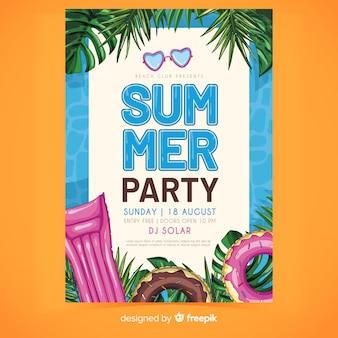 Шаблон плаката летней вечеринки floaties