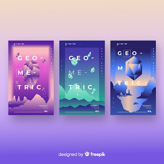 Floating 3d gradient polygons brochure collection