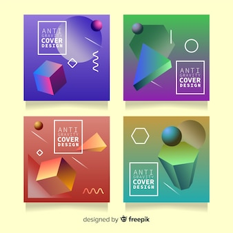 Floating 3d polygons cover pack