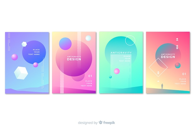 Floating 3d shapes brochure template collection