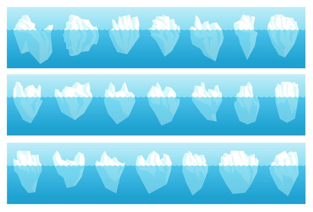 Floating antarctic full iceberg with hidden underwater part. bundle of large arctic polar drifting freeze glacier with sharp tip different form, size vector illustration isolated on white background