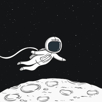 Floating astronaut on the moon with space