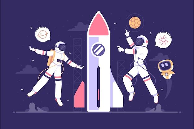 Плавающий космонавт с ракетой концепции иллюстрации