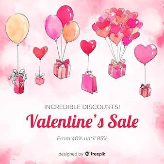 Floating balloons valentine's day sale background