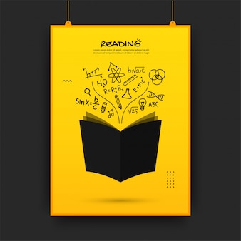 Floating book with outline icons on yellow background, back to school poster