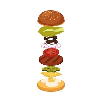 食品層が飛んでいるフローティングハンバーガー材料漫画ハンバーガー