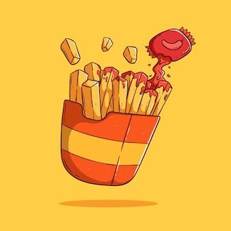고추 소스와 함께 떠 다니는 감자 튀김