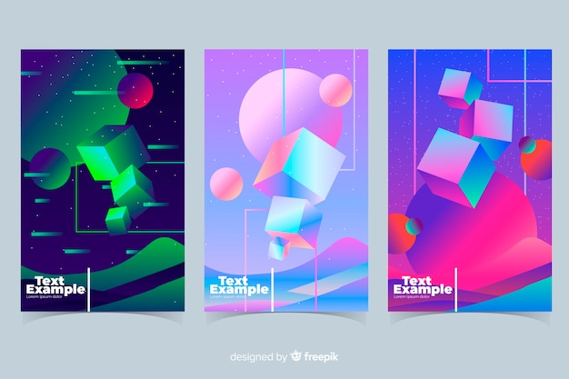 Floating geometric shapes brochure collection