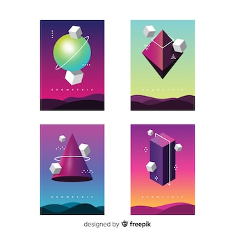 Floating geometric shapes brochure pack