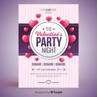 Floating hearts valentine party poster