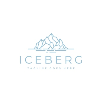 Floating ice mountain or iceberg logo design with simple line art style