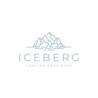 간단한 라인 아트 스타일의 플로팅 아이스 마운틴 또는 빙산 로고 디자인