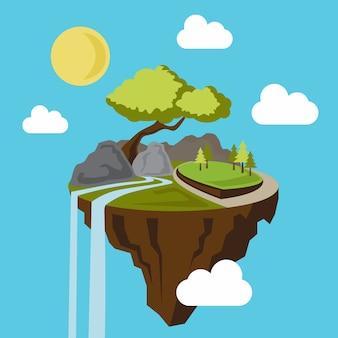 Иллюстрация плавающего острова