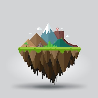Floating island with mountains landscape for travel and adventure tourism