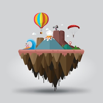 Floating island with mountains and volcano landscape for travel and extreme tourism end sports