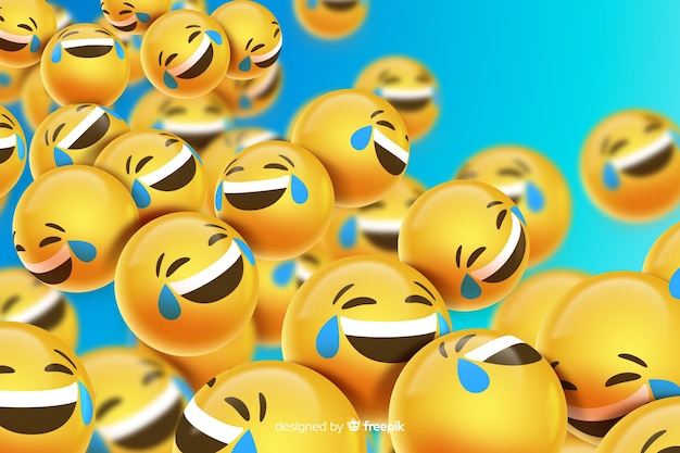 Floating laughing emoji characters