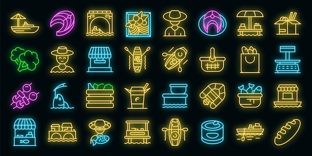Floating market icons set vector neon