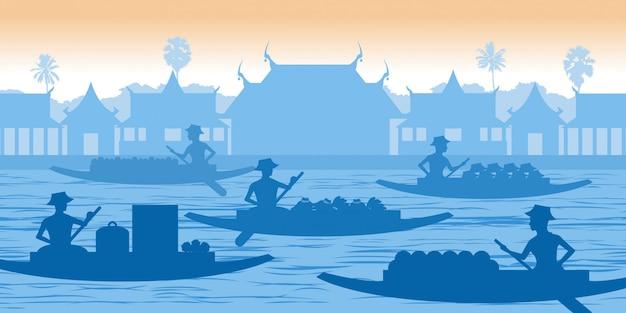 タイの水上マーケット Premiumベクター