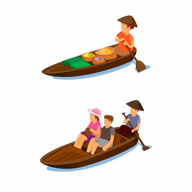 伝統的な水上マーケット。漫画イラストのボートシンボルコンセプトで食べ物や観光輸送を売る女性