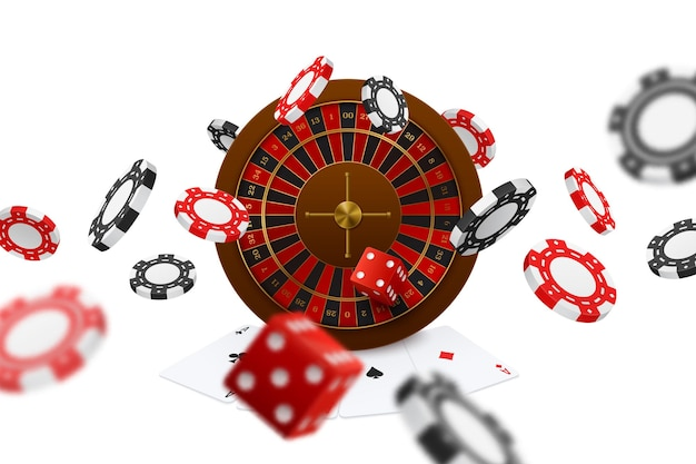 Плавающие покерные клубы, кости, фишки, рулетка, игральные карты, тузы, крупным планом, реалистичная композиция для рекламы онлайн-игр