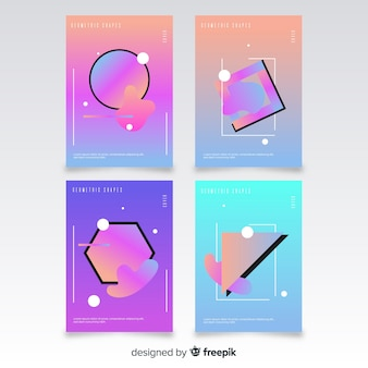 Floating polygonal shapes brochure set