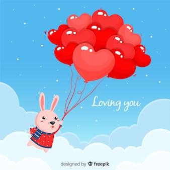 Floating rabbit heart background