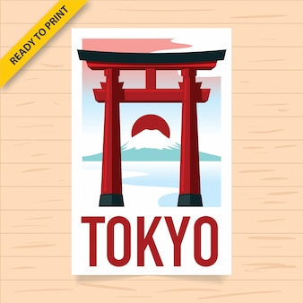 A floating red torii gate with sunsets and mount fuji  in the background, tokyo travel poster. vintage style poster, sticker and postcard design