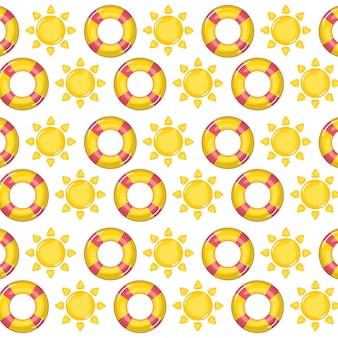 救命浮輪と太陽のシームレスなパターンの壁紙